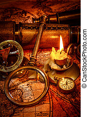 Vintage still life. Vintage items on ancient map. - Vintage...