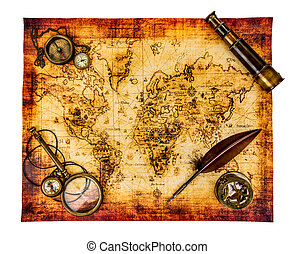Vintage still life. Ancient world map isolated on white. -...