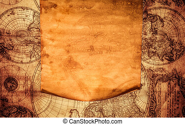 Blank old paper against the background of an ancient map -...