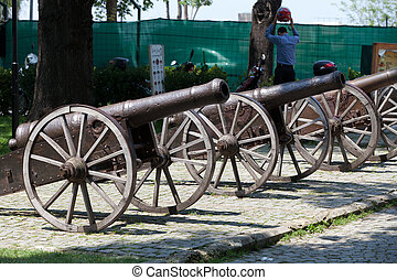 Bursa - Cannons on hill near Clock Tower