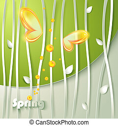 Card with vector stylized plants and butterfly