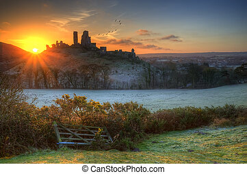 Corfe Castle Winter sunrise - Winter sunrise over Corfe...