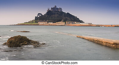 St Michael's Mount Bay Marazion early morning with path...