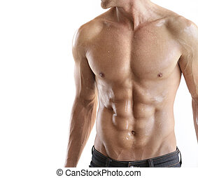 Torso detail - Torso of strong guy in jeans against white