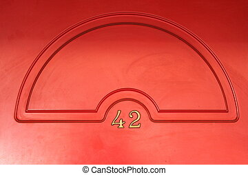 Red door background with brass number 42 - Casino red door...