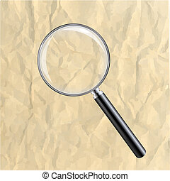 Crushed Paper With Magnifying Glass