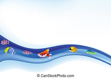 Colorful Sea Life Vector and Summer Backround
