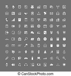 100 universal web icons set vector white on gray