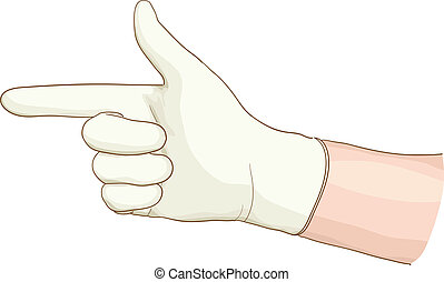 Hand proctologist with a latex glove. Vector illustartion.
