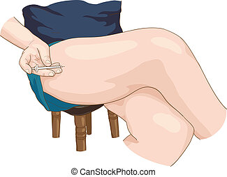 Insulin injection in a leg. Vector illustration.