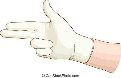 ginecólogo, mano, Látex, guante