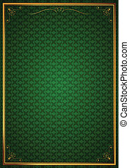 Corner patterns on green wallpaper