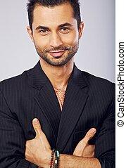 Goodlooking Man Smiling at You - Closeup of a goodlooking...
