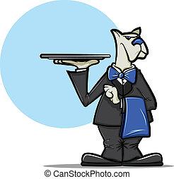 Dog Waiter - Illustration of a cartoon dog wearing a tuxedo...