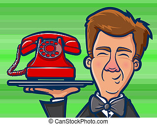 Phone Butler Cartoon - Illustration of a man holding an old...