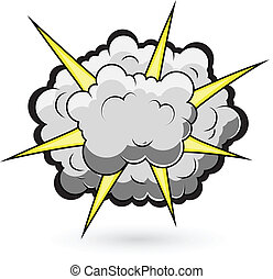 Comic Clouds Bursting Vector - Comic Fighting Cloud Burst...
