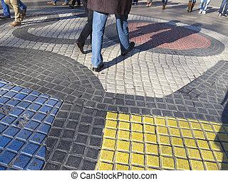rambla,  miro's, mosaico