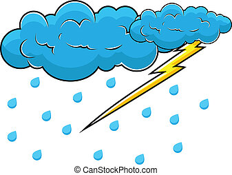 Comic Clouds with Thunder Vector - Comic Clouds with Thunder...