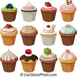 Set of delicious cupcakes with different toppings. Isolated...