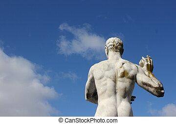 arrière, Olympique,  Sport,  -,  statue