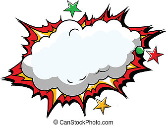 Comic Cloud Background Vector - Drawing Art of Cartoon Comic...