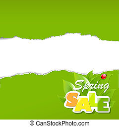 Green Torn Paper Borders Sale Poster