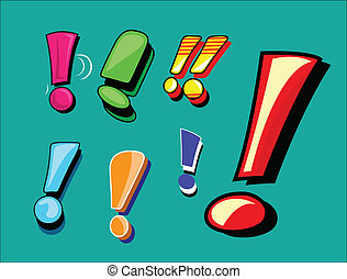 Exclamation Mark Vector Set - Comical Exclamation Mark...