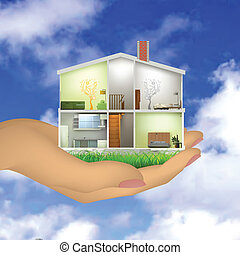 Woman's hand holding a house cut with interiors. Vector...