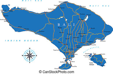 Bali Map - Highly detailed vector map of Bali with...