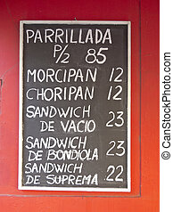 Argentine Menu - Blackboard with typical Argentinean dishes...