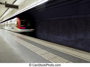 Metro coming to the station - Subway train in Barcelona,...