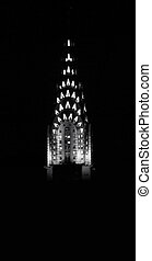 Chrysler\\\'s Peak - Historic Chrysler building at night,...