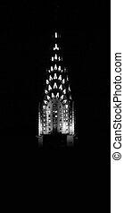 Chrysler\\\'s Peak - Historic Chrysler building at night,...