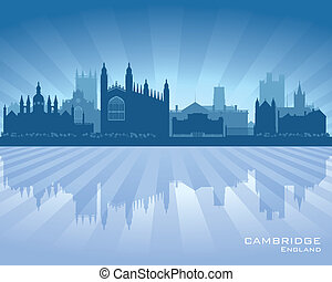 Cambridge England city skyline silhouette Vector...