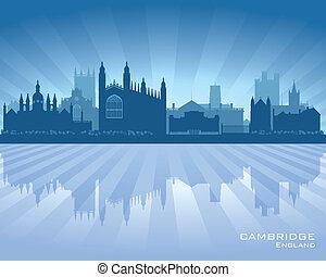 Cambridge, inglaterra, ciudad, contorno, silueta