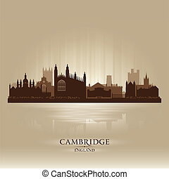 Cambridge England city skyline silhouette. Vector...