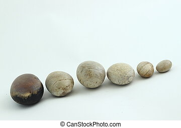 six pebbles - line of relaxing pebbles