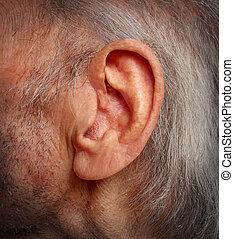 envelhecimento, ouvindo, perda