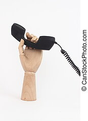 wooden hand with telephone