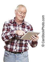 Senior man using tablet computer looking confused on white...