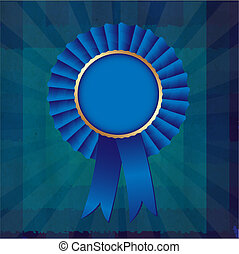 Dark Blue Grunge Background Texture With Ribbons Award