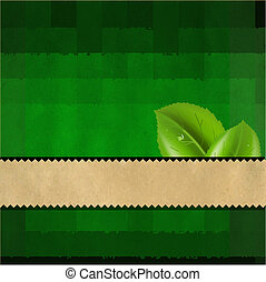 Grunge Green Paper Background With Leaves