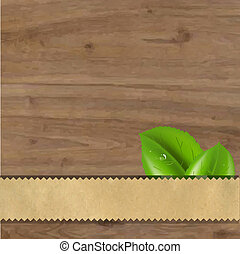 Wood Background With Green Leaves
