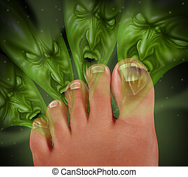 Foot Odor and smelly feet concept with human toes releasing...