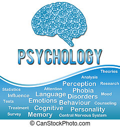 Phychology with Keywords - Blue - Image with Psychology...