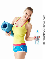 Expressions - Athletic girl with a bottle of water and mat