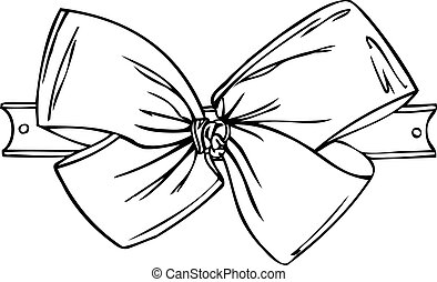 Isolated Vector of Bow on Ribbon - A black and white...