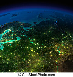 Night Earth. The European part of Russia - Highly detailed...