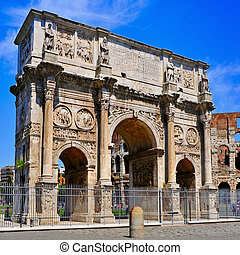 The Arch of Constantine and the Coliseum in Rome, Italy - A...