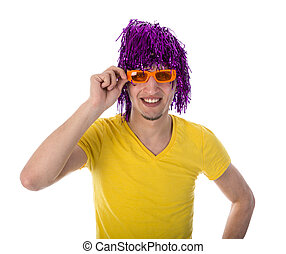 Man with orange glasses and purple wig isolated over white